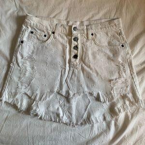 Carmar distressed white jean skirt